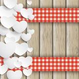 Белая древесина Valentinsday двойной ткани подарка сердец Стоковое фото RF