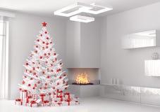 Белая рождественская елка в комнате 3d представляет Стоковые Изображения