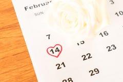 белая роза на календаре с датой 14-ое февраля Valentin Стоковые Изображения