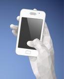 Белая рука держа мобильный телефон Стоковая Фотография RF