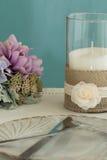 Белая свеча с гонкой Стоковая Фотография