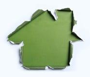 Белая сорванная бумага с формой дома Стоковая Фотография