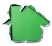 Белая сорванная бумага с формой дома стоковое фото rf