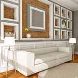 Белая софа стиля в винтажной комнате Стоковая Фотография RF
