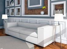 Белая софа стиля в винтажной комнате Стоковая Фотография