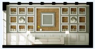 Белая софа стиля в винтажной комнате Стоковое Фото