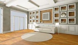 Белая софа стиля в винтажной комнате Стоковое Изображение