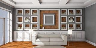 Белая софа стиля в винтажной комнате Стоковые Фотографии RF