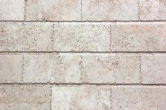Белая стена больших блоков Текстура камня Стоковая Фотография