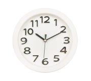 Белая стена часов изолированная на белизне Стоковая Фотография RF