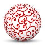 Белая сфера 3D с красной астетической картиной текстуры орнамента Стоковое Изображение RF