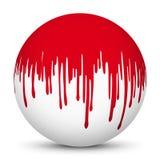 Белая сфера 3D с красным отображением текстуры Splatter крови Стоковая Фотография RF
