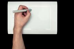 Белая таблетка графиков ручки Стоковые Изображения
