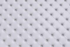 Белая текстура кожи выстегала софу Стоковые Фото