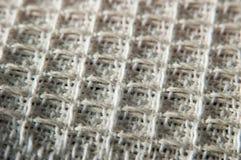 Белая текстура ткани Фотография макроса хлопка Стоковая Фотография RF