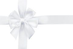 Белая тесемка с смычком Стоковые Изображения