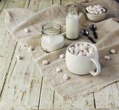 Белая чашка с какао и зефирами, селективным фокусом Стоковые Изображения RF