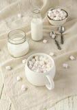 Белая чашка с какао и зефирами, селективным фокусом Стоковое Фото
