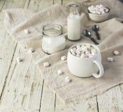Белая чашка с какао и зефирами, селективным фокусом Стоковое фото RF