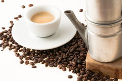 Белая чашка с старым неаполитанским кофе Стоковые Фото