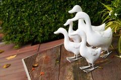 Белая штукатурка утки украшает на деревянном поле стоковое фото