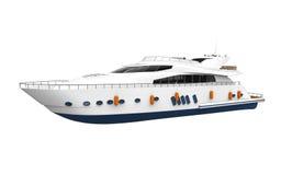 Белая яхта удовольствия изолированная на белой предпосылке иллюстрация вектора