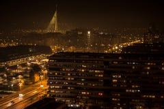 Белград на ноче Стоковое Фото