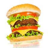белизна аппетитного гамбургера вкусная Стоковые Изображения RF