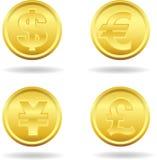белизна вектора золота монетки предпосылки изолированная иллюстрацией Стоковые Фотографии RF