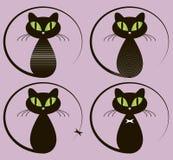 белизна вектора иллюстрации конструкции черного кота предпосылки установленная Стоковое Изображение