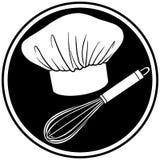 белизна вектора символа черной иллюстрации шеф-повара просто Стоковое фото RF