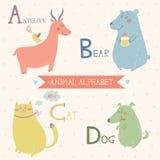 белизна вектора фоновых изображений алфавита животная Антилопа, медведь, кот, собака Часть 1 Стоковые Изображения