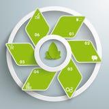 Белизна вентилятора зеленого цвета косоугольника Eco звенит PiAd Стоковое фото RF
