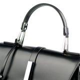 белизна взгляда черного портфеля предпосылки прифронтовая изолированная кожаная Стоковое фото RF