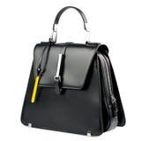 белизна взгляда черного портфеля предпосылки прифронтовая изолированная кожаная Стоковая Фотография RF