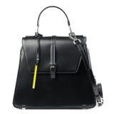 белизна взгляда черного портфеля предпосылки прифронтовая изолированная кожаная Стоковое Фото