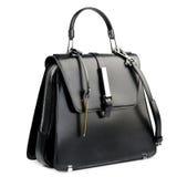 белизна взгляда черного портфеля предпосылки прифронтовая изолированная кожаная Стоковое Изображение RF