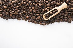 белизна вида спереди фокуса кофе крупного плана фасолей фасоли Стоковые Изображения