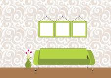 белизна волны обоев стены вала софы мебели конструкции предпосылки нутряная Стоковое фото RF
