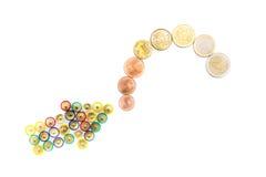 белизна евро монетки предпосылки Стоковое Фото