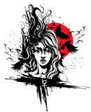 белизна девушки летания предпосылки изолированная волосами иллюстрация штока