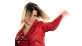белизна девушки танцы изолированная сток-видео