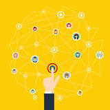 белизна делового сообщества предпосылки схематической изолированная иллюстрацией Социальные средства массовой информации и сетево Стоковая Фотография RF