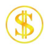 белизна знака доллара изолированная золотом Бесплатная Иллюстрация