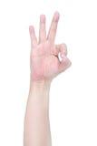 белизна знака предпосылки изолированная рукой одобренная Стоковые Фотографии RF