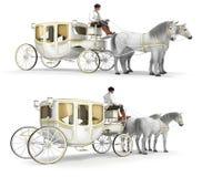 Белизна, золото-законченный экипаж нарисованный парой лошадей Стоковое Изображение RF