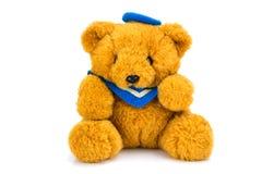 белизна игрушечного медведя предпосылки Стоковая Фотография RF