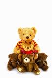 белизна игрушечного медведя предпосылки Стоковая Фотография