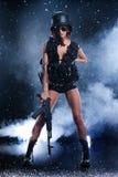 белизна изолированная девушкой воинская Стоковая Фотография RF