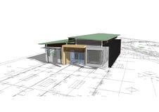 белизна изолированная домом имущество принципиальной схемы реальное 3d Стоковое Изображение